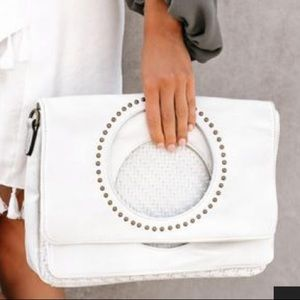 VICI white studded clutch NWOT